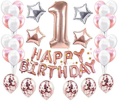 JeVenis erste Geburtstagsparty Dekoration Kit Süße Herz eine Alles Gute zum Geburtstag Ballons Banner perfekte 1st Party Supplies