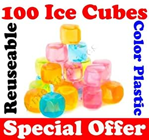 100 x Plastic Ice Cubes Reusable Coloured Party Drink Cooler New - Cubes forever by Bargains Hut