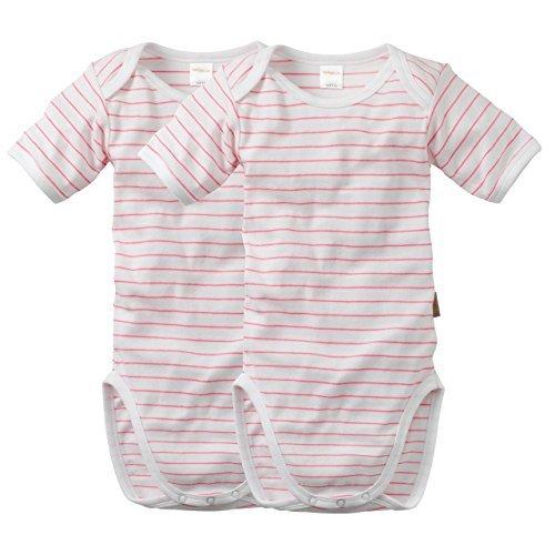 wellyou | 2er Set Kinder Baby-Body Kurzarm-Body | weiß neon-pink gestreift | geringelt | Feinripp 100% Baumwolle | Größe 80 - 86