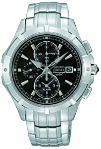 Seiko Gents Coutura Chronograph Quartz Watch on Bracele with Black Dial and Sapphire Glass SNAE73P1