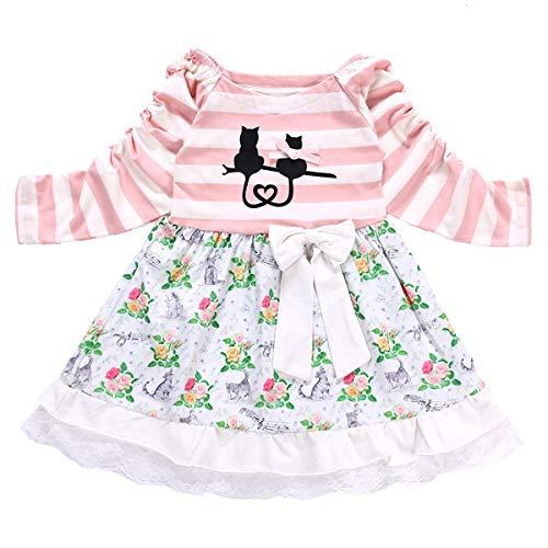 puseky Baby Girl Infant Langarm Kleid Cute Cat Tutu Kleid Princess Beach Sundress (Color : Pink, Size : 2Y-3Y)