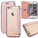GrandEver Coque iPhone 6S, Housse iPhone 6, Etui PU Flip Cover   Transparente Clair...