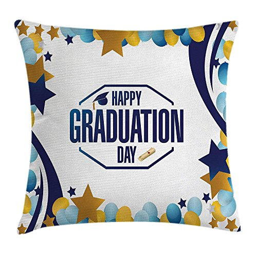low Cushion Cover by, Happy Beautiful Graduation Day Party Logo with Stars Balloons Ribbons Art Image, Decorative Square Accent Pillow Case, 18 X 18 Inches, Yellow Blue ()