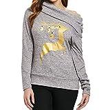 Hey Fashion Girl !!! Longra Mujeres de Navidad Elk Imprimir Oblique Collar Sudadera Blusa