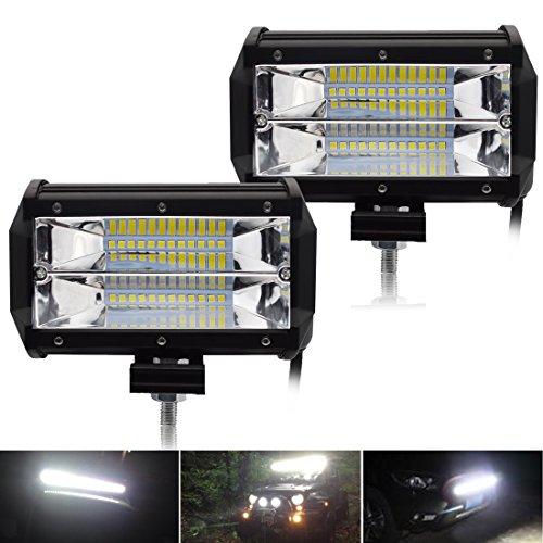 Safego 2x 5 Inch 72W LED Scheinwerfer Arbeitslicht Auto Arbeitsscheinwerfer bar Offroad Off-road 6000K IP67 Flutlicht ATV SUV 12V/24V 5