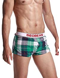 SEOBEAN Men's Low Rise Trunk Boxer Brief Shorts Lounge Underwear 5 Colors