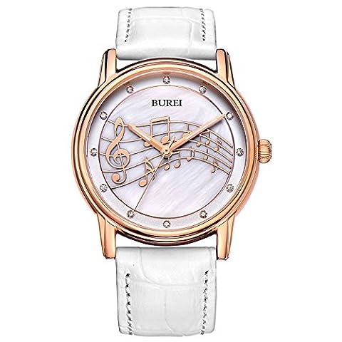 BUREI Stilvolle Casual Damenuhr Quarz Frauen Armbanduhr mit Perle Anzeigen