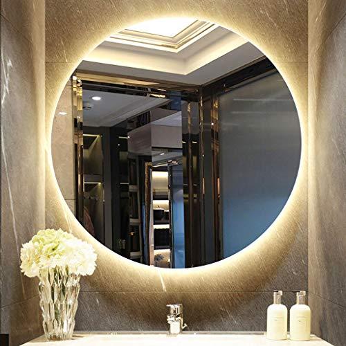 YiYi Bathroom mirror Espejo Redondo para baño con LED Iluminado Blanco/Luz cálida Espejo de Maquillaje...