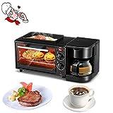 BJYG Multi-Function Home Breakfast Machine Tostapane Forno Elettrico Forno Fried Egg Coffee Toast Tre-in-Uno, Nero