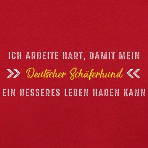 Ich arbeite hart, damit mein Deutscher Schäferhund ein besseres Leben haben kann - Herren T-Shirt - 13 Farben Rot