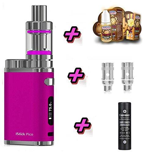 E-Zigarette SC produced by Eleaf Pico PINK iStick 75W Starterset 2600mAh | TC (Temperaturregelung) mit Keepower Akku | mit SC Liquids - 00mg Rauchen ohne Nikotin