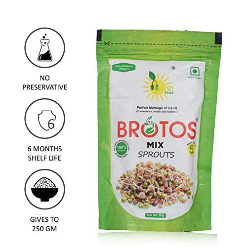 BROTOS Mix Bean Sprouts with Masala Sachet Inside, 80g