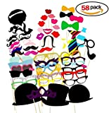 Homiki 58 Piezas Photo Booth Accesorios para Tomar Fotos en Cabina de Foto Boda Fiesta Selfies Bigotes Gorras Gafas Muy Chistosos