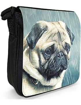 China asiatisch Liebe Mops Hunde Kleine Schultertasche aus schwarzem Canvas