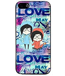 Fuson Blue Love Couple Back Case Cover for APPLE IPHONE 4 - D3963