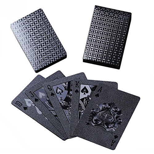 Dreameryoly Cartes de Poker en Plastique Noir Mat Pet Cartes de Jeu imperméables en Pet pour Jeux de Table Liste des Packages: 1 Jeu de Cartes