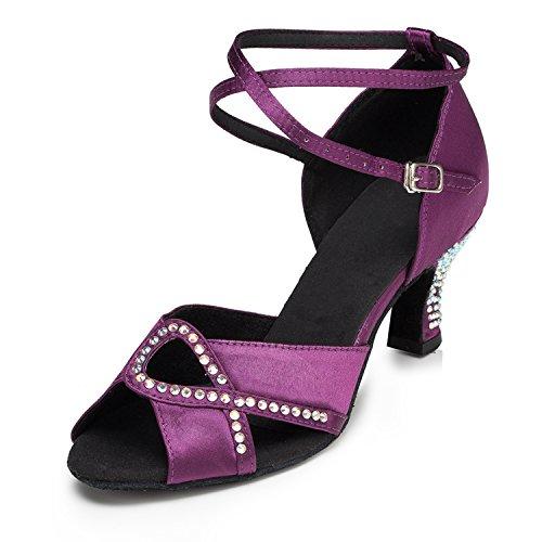 Minitoo–th158Gattino Tacco Basso Satin Matrimonio Ballo Latina taogo Dance Sandals Purple