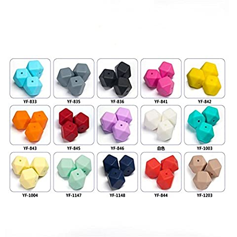 50pcs 17mm Silica Mill Bead Food Grade Silicone Hexagonal Bead Mixed Color Multi-Dispersed Beads , yf842