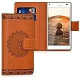 kwmobile Hülle für Sony Xperia Z5 Compact - Wallet Case Handy Schutzhülle Kunstleder - Handycover Klapphülle mit Kartenfach und Ständer Blume Design Dunkelbraun