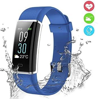 Pulsera Actividad, Pulsera Inteligente Pantalla Color Reloj Impermeable IP68 con Monitor de Ritmo Cardíaco, Captura de cámara, Notificación de ...