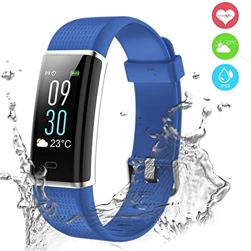 Fitness Tracker, Orologio Fitness Impermeabile IP68 Braccialetto Fitness Cardiofrequenzimetro da Polso Contapassi Smart Watch Pedometro GPS per Donna Uomo Bambini per iPhone Android iOS-Blu