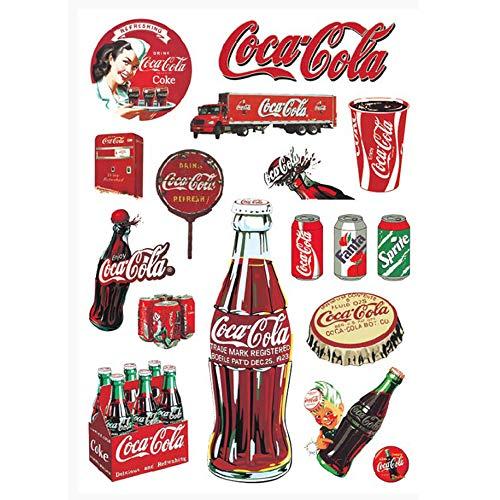 ZHANG Coca Cola Aufkleber Fall Aufkleber Retro Aufkleber wasserdichte Persönlichkeit Kühlschrank Computer Skateboard Aufkleber -