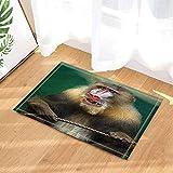 SHUHUI Wildtier-Hartriegel im grünen Dschungel, roter Nasenaffe Wasserdicht, langlebig, Rutschfest, Keine Chemikalien, Fußmatten, Fußmatten, 60X40CM