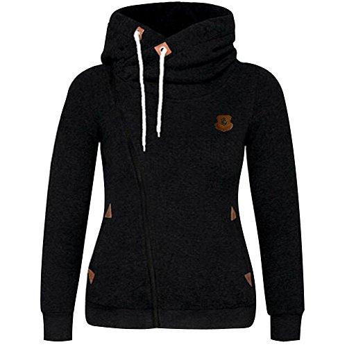 ShallGood Damen Frühling Herbst Casual Langarm Zip Hoodies Sweatjacke Kapuzenjacke Kapuzenpullover Sweatshirt Oberteil Pullover Schwarz DE 40 (Top Shirt Bluse Air)