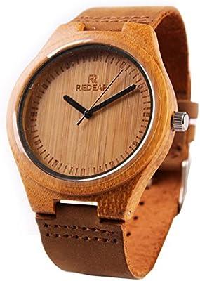 Fashion Causal hecho a mano de madera de bambú de banda de cuero de cuarzo reloj reloj para mujer
