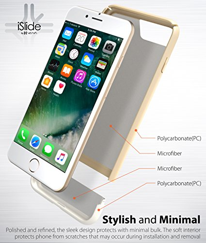 """Coque iPhone 7 Plus, Vena [iSlide][Two-Tone] Dock-Friendly Slim Fit Hard Case Cover pour Apple iPhone 7 Plus (5.5"""") (Sarcelle/Or) Or/Blanc"""