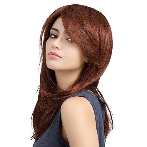 hnalle Lange Haare Perücke Rot Braun Schrägen Pony Lange Haare Multicolor,Red (Guten Arbeitsplatz Kostüme)