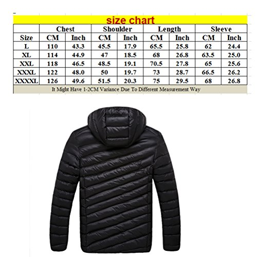 Zhhlaixing Beau Pure Color Removable Hooded Jacket Men's Warm Zipper-Filled Jacket Dark Blue
