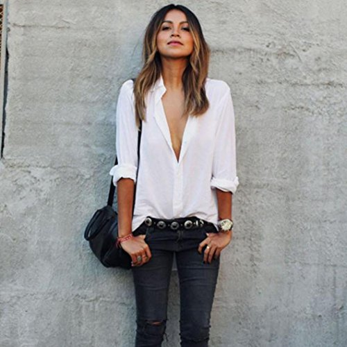 ❤️Manadlian Chemisier Blouse Femme Ete 2018,Chemisier Femme Mousseline de Soie Chemise T-Shirt Blouse Tops à Manches Longues Col V Blanc