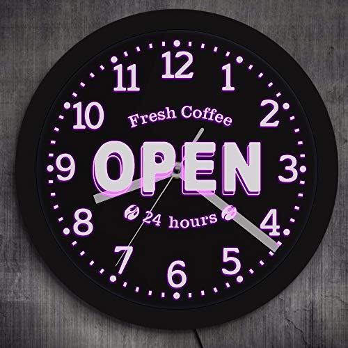 BZDLH Vintage Vinyl CD Rekord Wanduhr Fresh Coffee Open 24 Hours LED Neon Sign Decorative Wall Watch Coffee Shop Business Lighting Multi Colors Cafe Bar