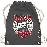Motorräder - Live to Ride Motorrad - Unisize - Dunkelgrau - WM110 - Turnbeutel & Gym Bag