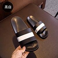 fankou Parejas Zapatillas de Verano hogar Femenino Interiores Baño Grueso Antideslizante Piso Blando con Elegantes Zapatillas Cool Verano Macho,260(39-40), Negro E