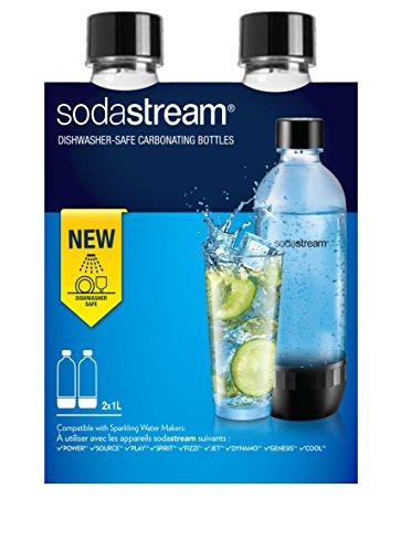 SodaStream 2 Bottiglie per gasatore d'acqua, Universali, Lavabili in Lavastoviglie, Capienza 1 litro, Trasparenti, Compatibili con modelli gasatori SodaStream Jet, Spirit, Source, Power, Play
