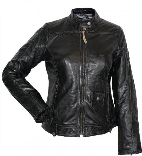 Damen Lederjacke Trend Fashion echtleder Jacke aus Lamm Nappa Leder Schwarz, Größe:48