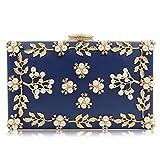 KYS Femmes Soirée Sacs Mode Pochette perlée Femme Mariage Embrayages Sacs à Main (8 Couleurs en Option), Blue
