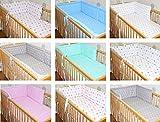 Nestchen Bettumrandung Kopfschutz 190 cm, 360 cm, 420cm für Bett 70x140 cm, 60x120cm Sterne graue Sterne auf Weiß 190 cm