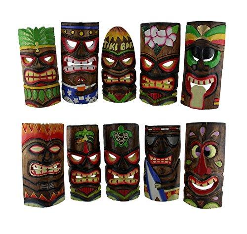 10-teiliges Polynesische Party handgeschnitzt Island Style Holz Tiki Masken 25,4cm