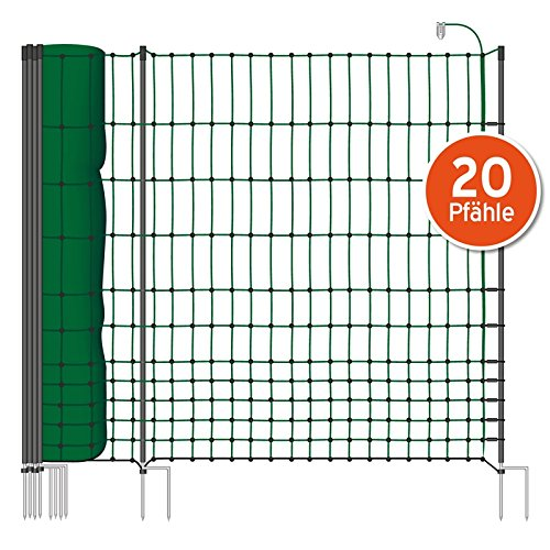 Filet volaille 50m H : 112cm vert VOSS.farming 20 piquets double pointe clôture électrique
