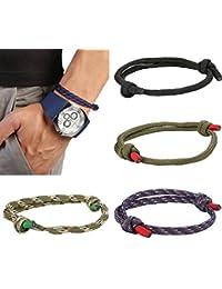 BESTEEL 4 Pcs Nautique Bracelets Tressé pour Hommes Fait a La Main Navy Corde Chaîne Charme Bracelet Wrap Réglable