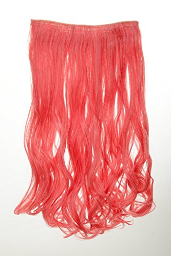 (WIG ME UP - Haarteil Extension breite Haarverlängerung 5 Clips wellig gewellt Rot-Blond Feuerrot-Weißblond-Mix zweifarbig 25 x 50 cm YZF-3180-113/1001)