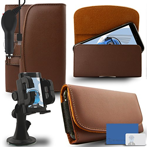 iTALKonline Samsung Galaxy A5 SM-A500G/DS Brown PREMIUM PU Leather horizontal Executive Side Pouch Case Cover Holster with Belt Loop Clip and Magnetic Closure and 1000 mAh Coiled In Car Charger LED Indicator and Overload Protection with Heavy Duty Car Holder  available at amazon for Rs.660