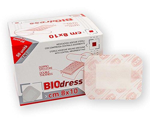 SCATOLA CEROTTI BIODRESS 50 pz (cm 8x10) con tampone centrale (cm 4,5x6). Medicazione sterile adesiva traspirante, ipoallergenica in TNT con compressa centrale assorbente. Scatola da 50 medicazioni sterili imbustate singolarmente.