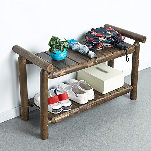 Unbekannt PIN Household Wooden Shoe Rack, Shoe Cabinet, Simple Bathroom Living Room Bedroom Double Rack Storage Shelf Storage Rack (76 * 38 * 50Cm),Simple Home Door Shoe Rack,2 - Doors Screen Home Security