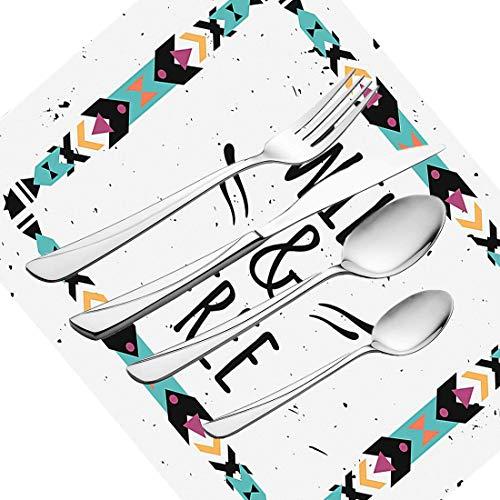 30-teiliges Besteckset, Tribal-Geschirr, Besteckset aus Edelstahl für 6 Personen, einschließlich Messer, Gabeln, Löffel, Teelöffel und Tischset, abstrakter geometrischer Rahmen, wildes und kostenloses
