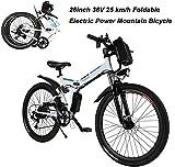 AIMADO Bicicletta Elettrica PIEGHEVOLE Mountain Bike 250 W 25 km/h Shimano 21 in Alluminio...