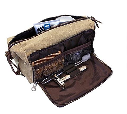 DOPP Kit Sac de voyage pour hommes Toiletry YKK Zipper Canvas & Leather (Kaki)
